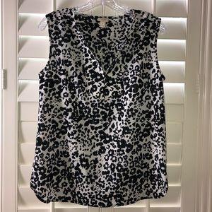 J CREW Leopard Print Sleeveless V Neck Top Sz 4